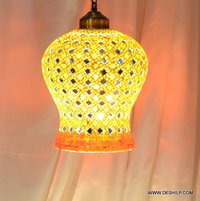 ORANGE AND YELLOW COLOR MOSAIC HANGING LAMP WITH FITTING