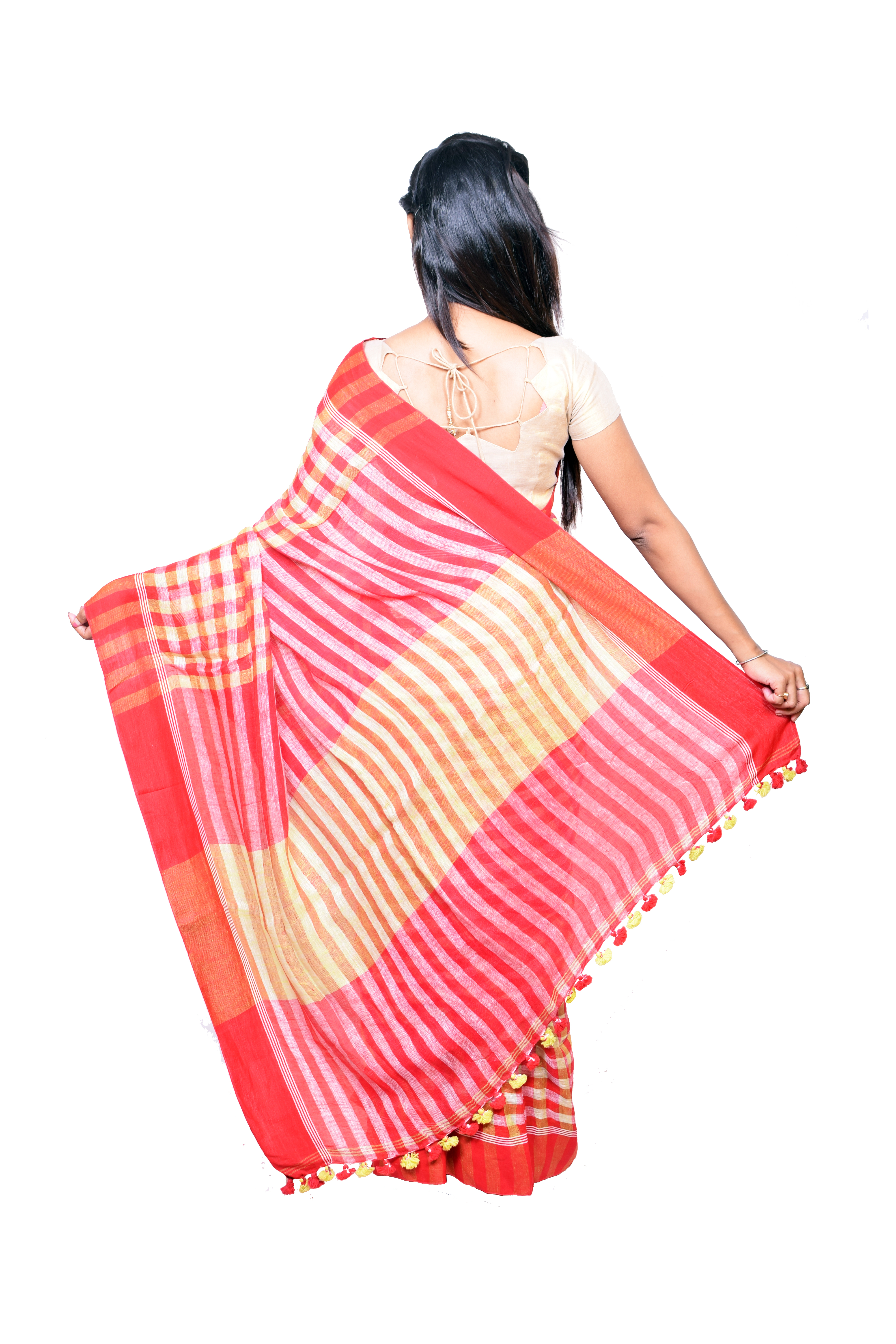 Linen checked Saree