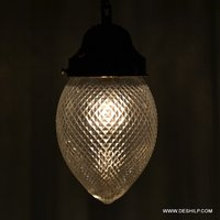 CLEAR GLASS CRYSTAL CUTTING HARD WORK HANGING LAMP WITH FITTING