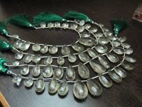 Natural Green Amethyst Pear Shape Faceted beads