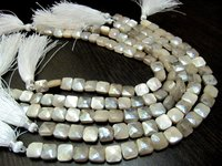 AAA Quality White Moonstone AB Coated Cushion Shape beads