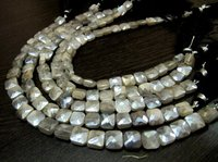 AAA Quality Gray Moonstone AB Coated Cushion shape beads
