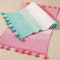 Handloom Dhurrie with pompom