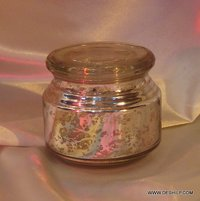 SILVER GLASS JAR WITH GLASS COVER, GLASS ROUND SHAPE JAR