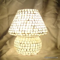 MOTHER OF PEAR MOSAIC TABLE LAMP, GLASS MOSAIC DECORATIVE TABLE LAMP