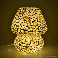 MOTHER OF PEARL MOSAIC TABLE LAMP,ANTIQUE MOSAIC GLASS TABLE LAMP
