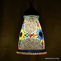 GLASS MOSAIC GANGING LAMP WITH FITTING, WHITE AND MULTI COLORED GLASS HANGING LAMP
