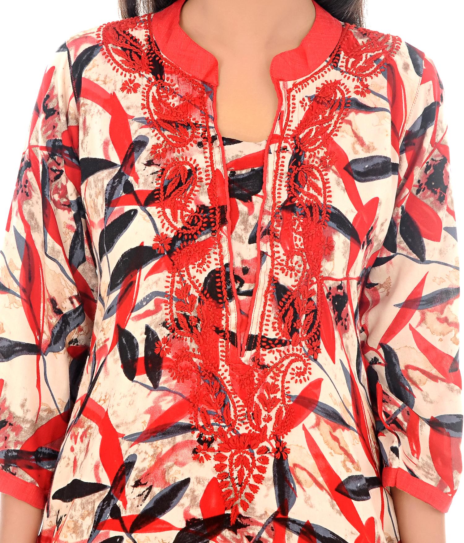 Rayon Print Lucknow Chikan Kurti