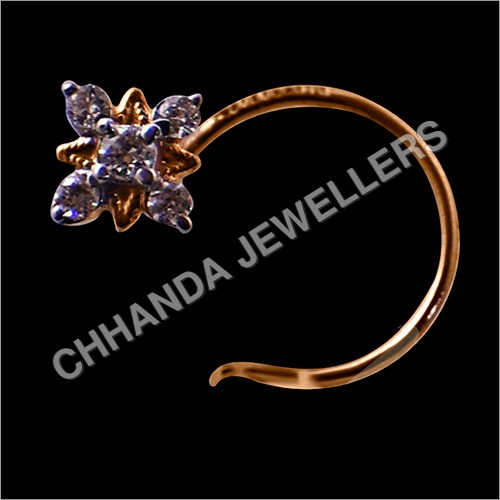 Diamond Sajer Panch Dana Nose Pin