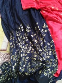 poly silk + foil print fabrics