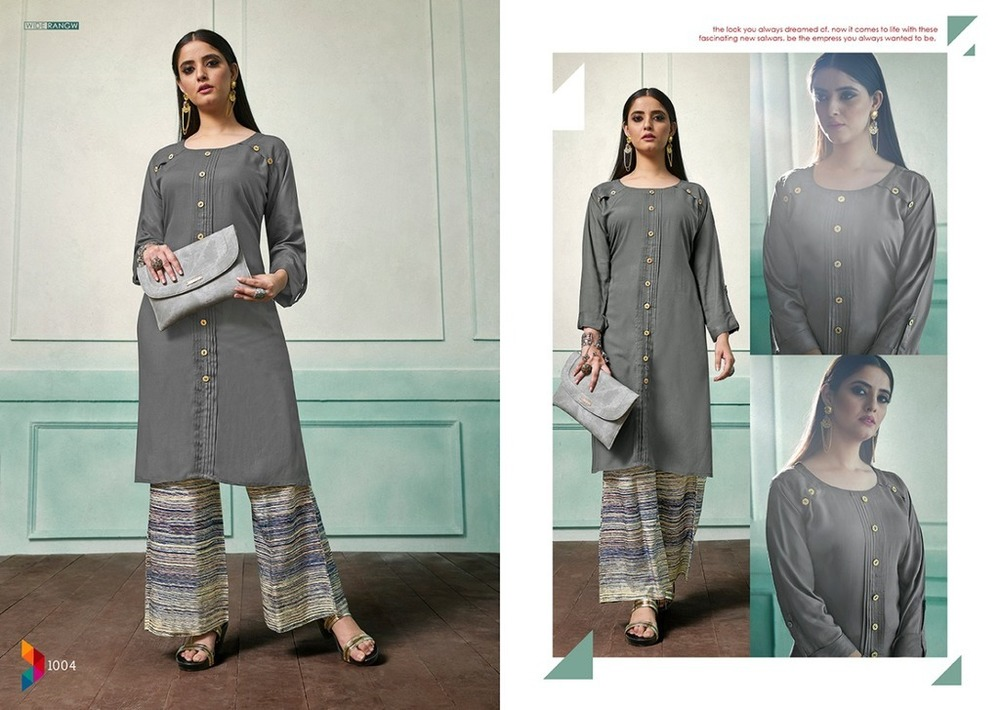Fancy Long Kurti With Print Plazo