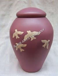 Metal Pink with Doves Urn