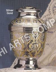Brass Silver & Gold Engraving Cremation Urn