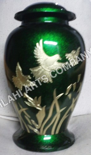 Green Marble & Brass Birds Urn