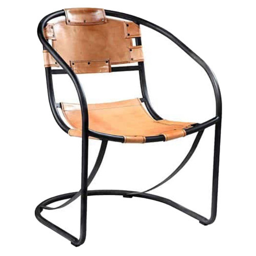 Designer Leather Iron Chair