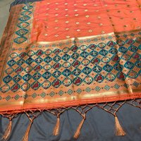 Peach Heavy Soft Silk With Beautiful Zari Work Saree(DNHSILK1)
