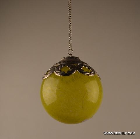 Yellow Christmas Tree Ball Hanging Ornament Metal Fitting Yellow