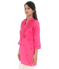 Satin Cotton Lucknow Chikan Kurti