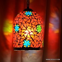 RED COLOR MOSAIC GLASS HANGING,GLASS HANGING WITH FITTING