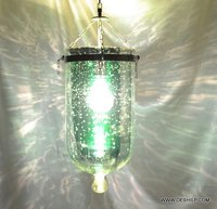 Glass Silver And Green Hanging Lamp With Fitting