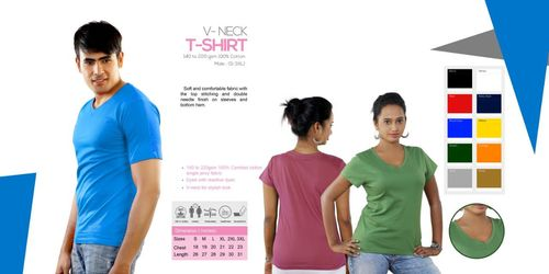 Blue Color V Neck T Shirts