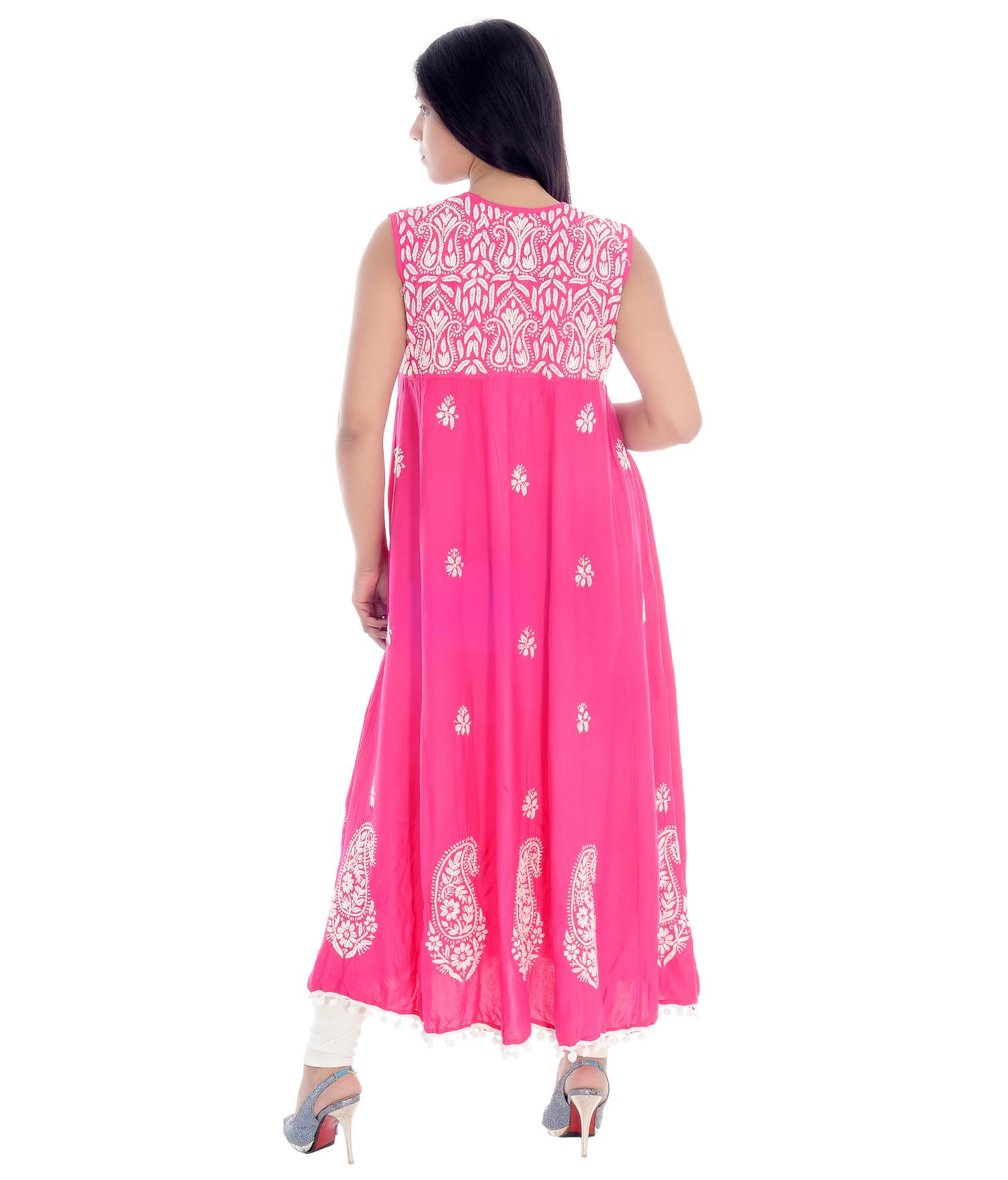 Rayon Cotton Lucknow Chikan Kurti
