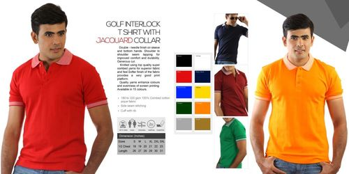 Golf Interlock T Shirts with Jacquard Collar
