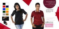 Ladies Golf Interlock T Shirts with Jacquard Collar