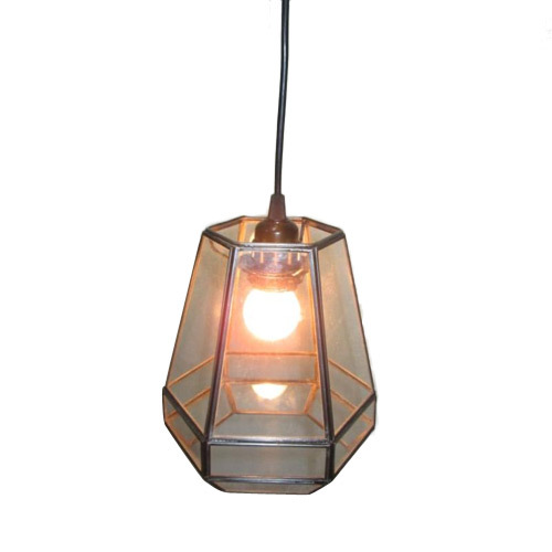metal and Glass Ceiling Lamp