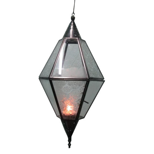 metal and Glass Hanging Candle Holder