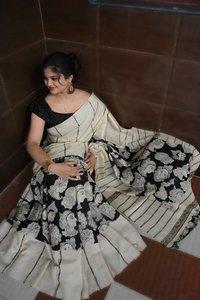 Kalamkari Lilen/Chanderi Silk Saree (DNHSILK6)