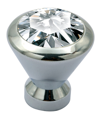 Round Brass Crystal Knob