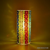 Handpainted Work Design Mosaic Glass Bedside Table Lamp Decor