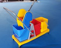 Triple Bucket Mop Wringer Trolley