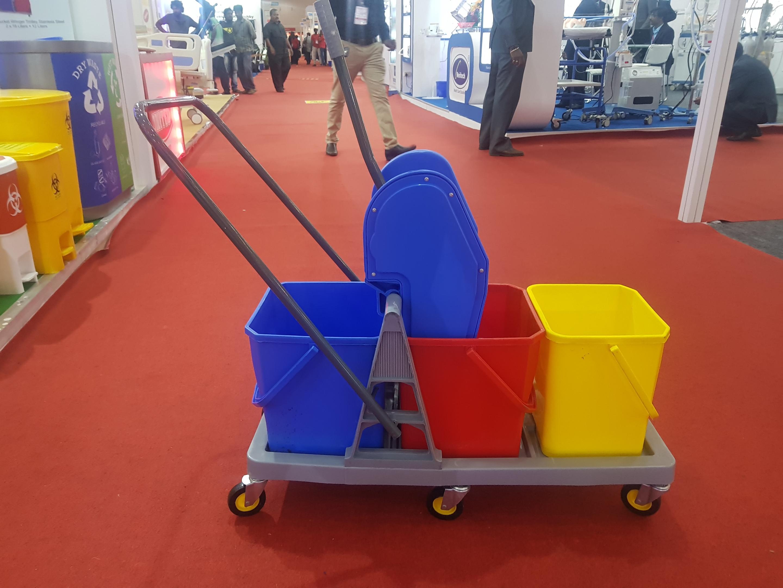 Triple Bucket Mop Wringer Trolley