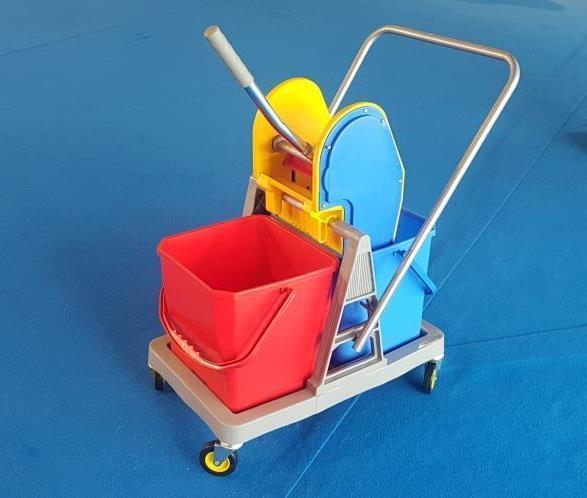 Double Bucket Mop Wringer Trolley 36L