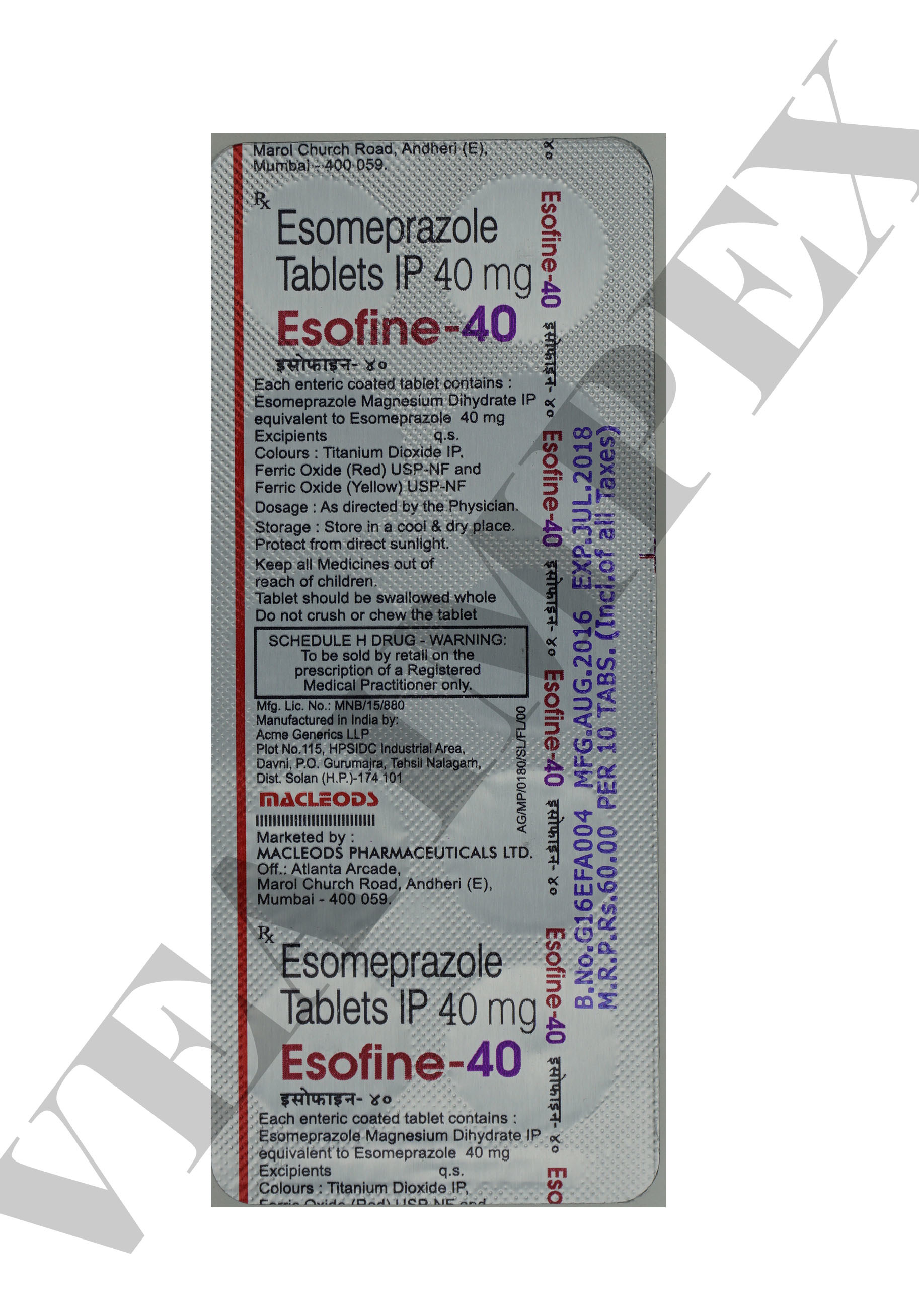 Esofine 40 mg Tablets