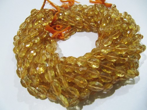 Top Quality Natural Citrine Oval Faceted Nugget Shape Beads