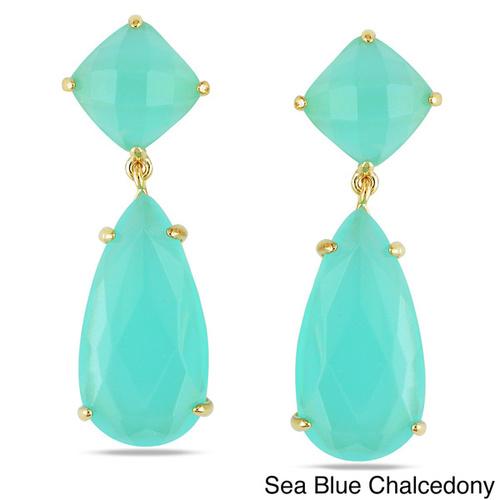 Aqua Chalcedony Prong Set Gemstone Drop Set Earring