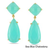 Aqua Chalcedony Prong Set Gemstone Drop Set Earring - Gold Plated Earrings For Women