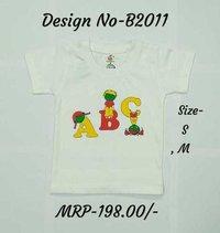 Kids ABC design Printed Tshirts - White/Sky Blue/L. Green - Round Neck/Half Sleeve