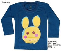 Kids Alien design Printed T shirts - White/ Melange/ N. Blue - Round Neck, Full Sleeve