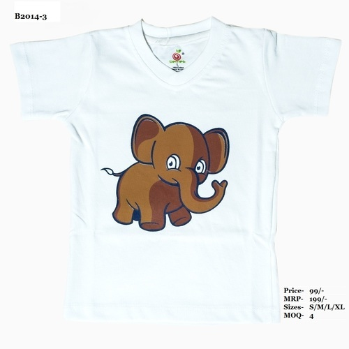 Kids Elephant design printed T shirt - Pitch/White/ L. Green - V Neck, half Sleeve