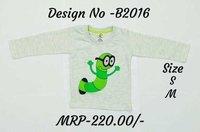 Kids Caterpillar Embroidery Design T-shirts - Melange/ Yellow/ L. Blue - Round Neck, Full Sleeve