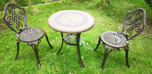 Tea Table - Marble Top + 2 Chair