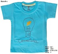 Kids Bulb Embroidery design T shirts - L. Blue/ Yellow/ Peach - Round Neck, Half Sleeve