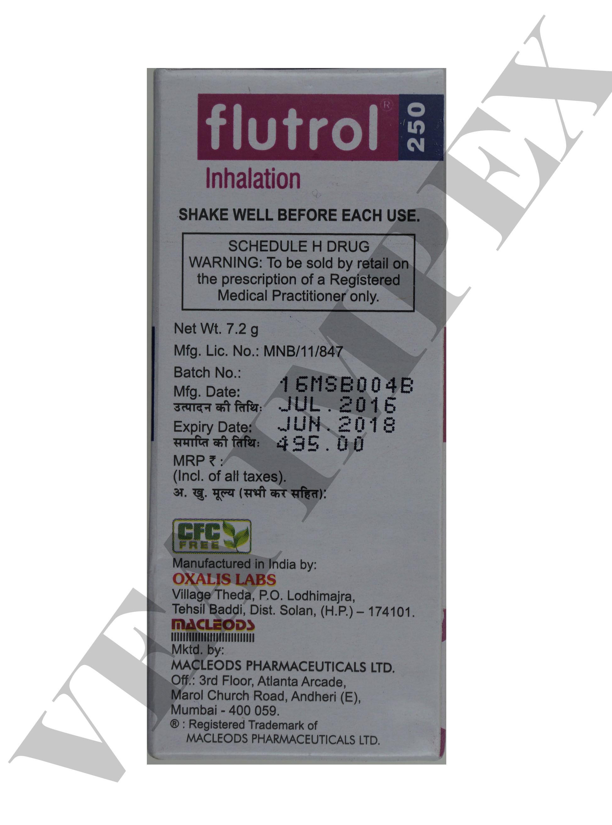 Flutrol 250 mg inhalation