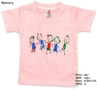 Kids Children Design Print T-Shirts - Melange/ L. Green/ Pink - V Neck, Half Sleeve