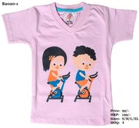 Kids Boy-Girl design print T Shirts - L. Blue/Pink/Yellow - V Neck, Half Sleeve