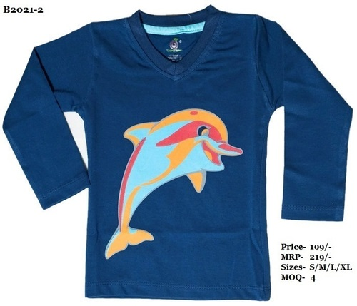 Kids Dolphin Design Printed T-shirts - N. Blue/Peach/Yellow - V Neck, Full Sleeve